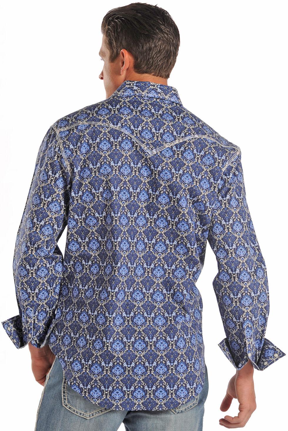 Rock and Roll Cowboy Purple Chain Print Western Shirt , Print, hi-res
