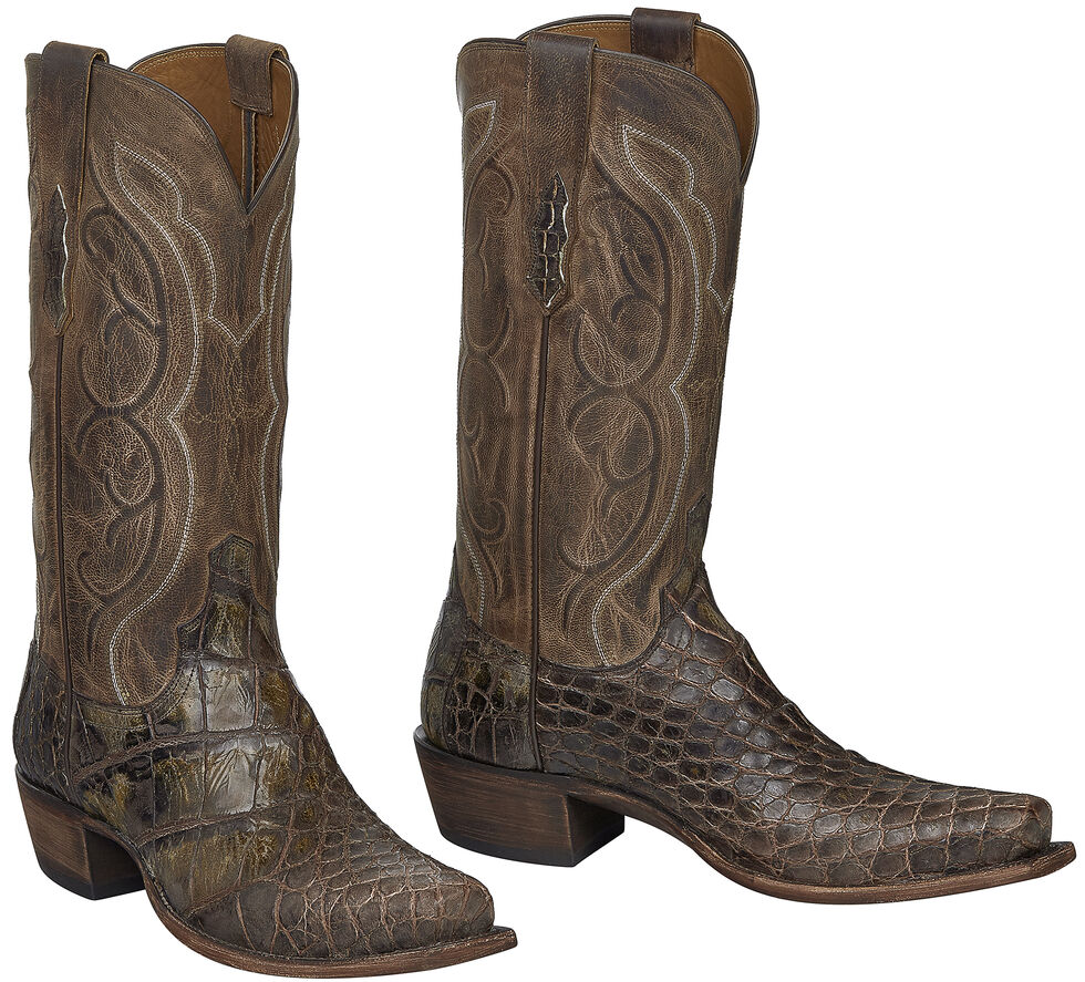Lucchese Handmade Chocolate Giant Gator Van Cowboy Boots - Square Toe, Chocolate, hi-res