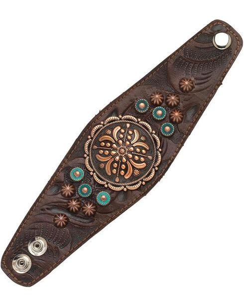 American West Women's Chestnut Bronze Concho Wide Cuff Bracelet , Chestnut, hi-res
