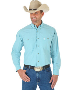 Wrangler Men's Teal George Strait Plaid Western Shirt , Green, hi-res