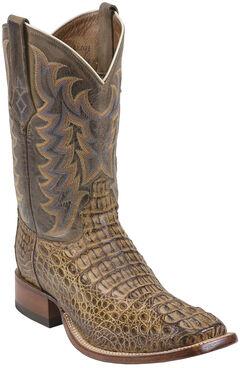 Tony Lama Tan Vintage Exotics Hornback Caiman Cowboy Boots - Square Toe , , hi-res