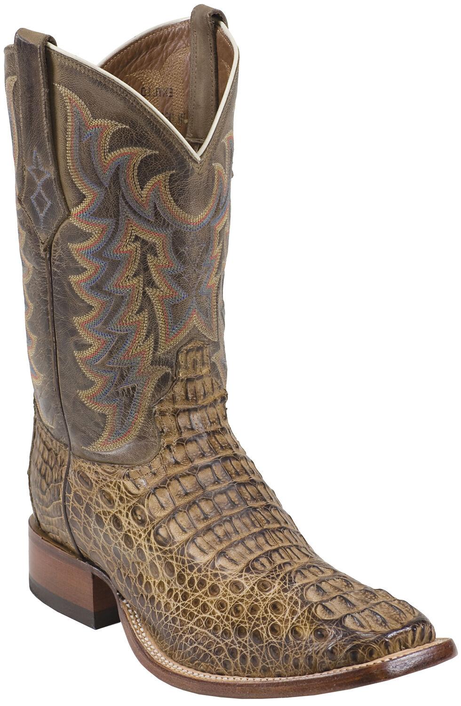 Tony Lama Tan Vintage Exotics Hornback Caiman Cowboy Boots - Square Toe , Tan, hi-res