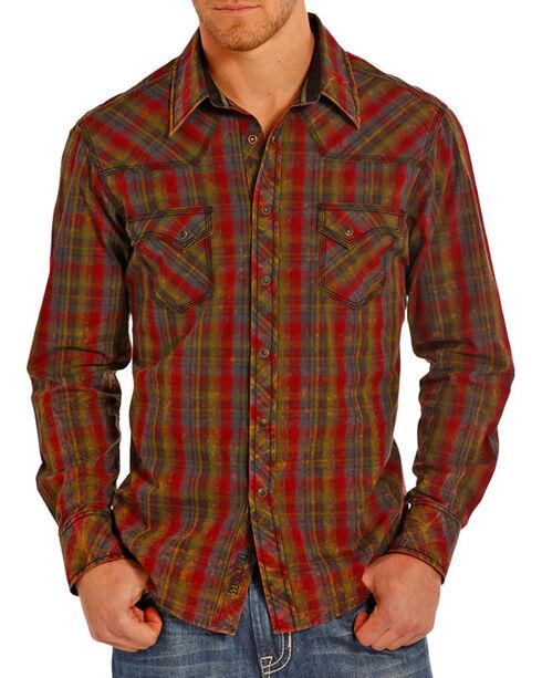 Rock & Roll Cowboy Men's Burgundy Crinkle Plaid Shirt , Burgundy, hi-res