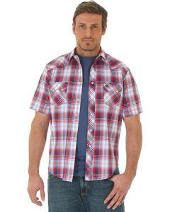 Wrangler Men's Red Western Plaid Short Sleeve Shirt , Red, hi-res