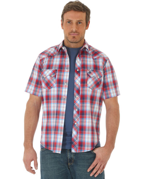 Wrangler Men's Red Western Plaid Short Sleeve Shirt , Red, hi-res
