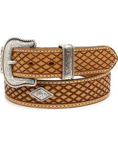 Nocona Men's Fort Worth Natural Leather Belt, Natural, hi-res