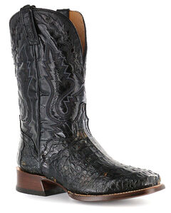 El Dorado Caiman Cowboy Boots - Square Toe, Black, hi-res