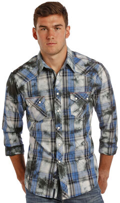 Rock & Roll Cowboy Men's Blue Plaid Shirt , Blue, hi-res