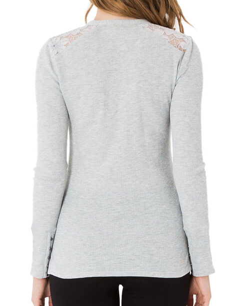 Others Follow Women's Grey Lace Shoulder Henley , Heather Grey, hi-res