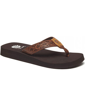 Yellow Box Women's Benji Laser Cut Thong Sandals, Dark Brown, hi-res