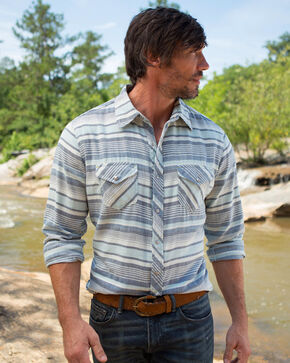 Ryan Michael Men's Indigo Horizon Stripe Shirt, Indigo, hi-res