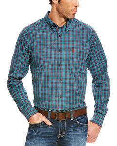 Ariat Men's Blue Avinger Long Sleeve Western Shirt , Blue, hi-res