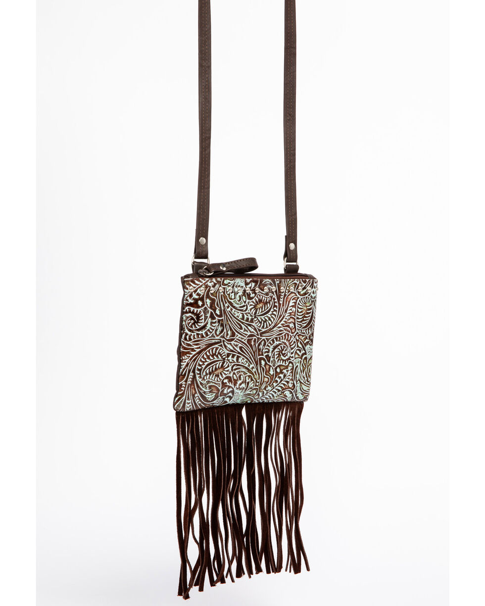 Shyanne Women's Filigree and Fringe Crossbody Bag, Turquoise, hi-res