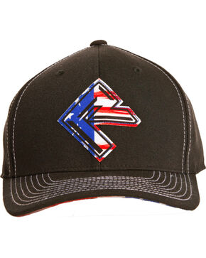 Rock & Roll Cowboy Men's Flag Screen Print Cap, Black, hi-res