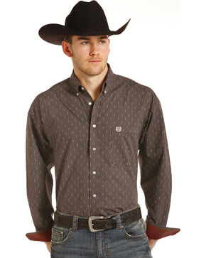 Panhandle Men's Brown Geo Print Long Sleeve Western Shirt, Brown, hi-res