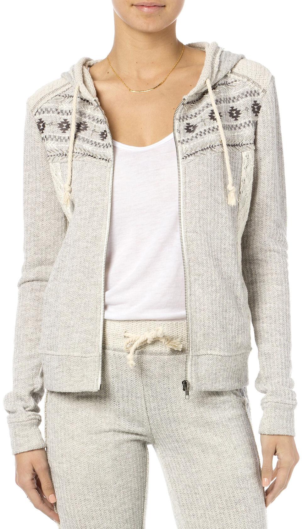 Miss Me Women's Heather Grey Crochet Hoodie , Hthr Grey, hi-res