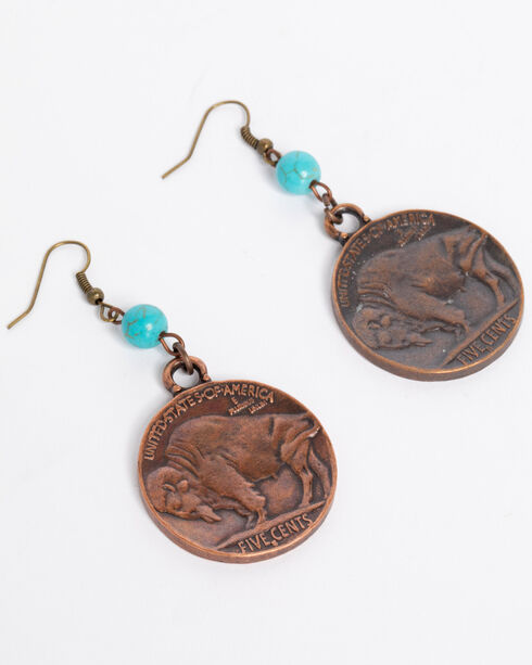 Jewelry Junkie Women's Indian Head Earrings with Turquoise Accents , Turquoise, hi-res