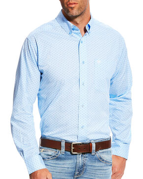 Ariat Men's Casual Series Milner Fitted Print Long Sleeve Button Down Shirt, Light Blue, hi-res