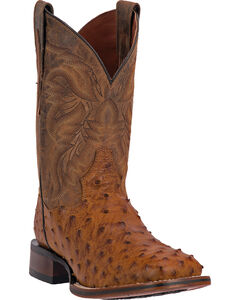 Dan Post Men's Alamosa Full Quill Ostrich Western Boots - Square Toe, Saddle Tan, hi-res