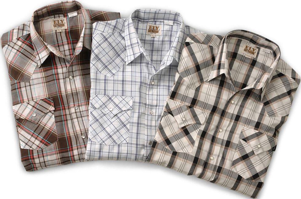 Ely Assorted Plaid & Stripe Long Sleeve Western Shirts - Big, Tall, Big/Tall, Plaid, hi-res