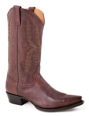 Stetson Fancy Stitched Cowboy Boots - Snip Toe, Brown, hi-res