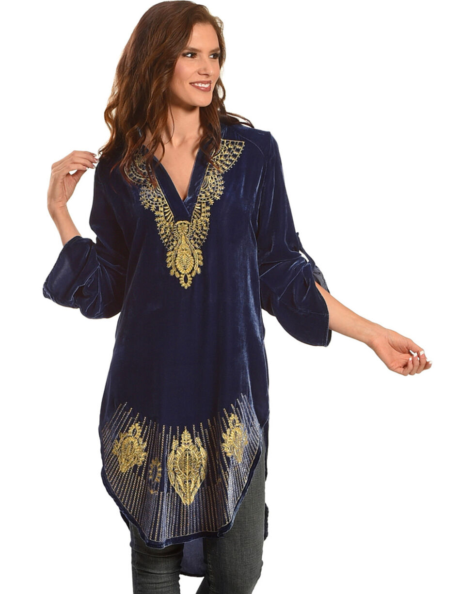 Tasha Polizzi Women's Blue Daisy Tunic , Blue, hi-res