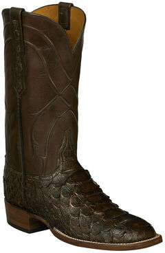 Lucchese Brown Perry Giant Python Cowboy Boots - Square Toe , , hi-res