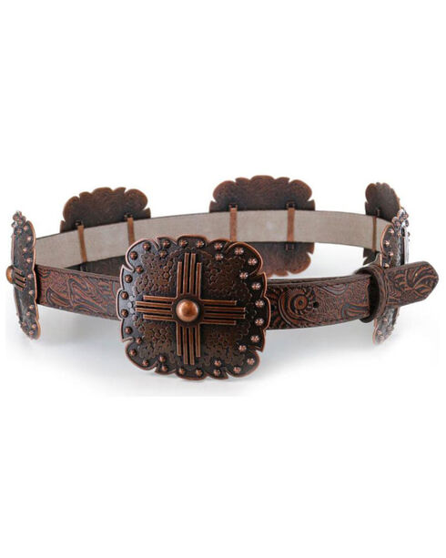 Angel Ranch Women's Brown Scalloped Concho Leather Belt , Brown, hi-res