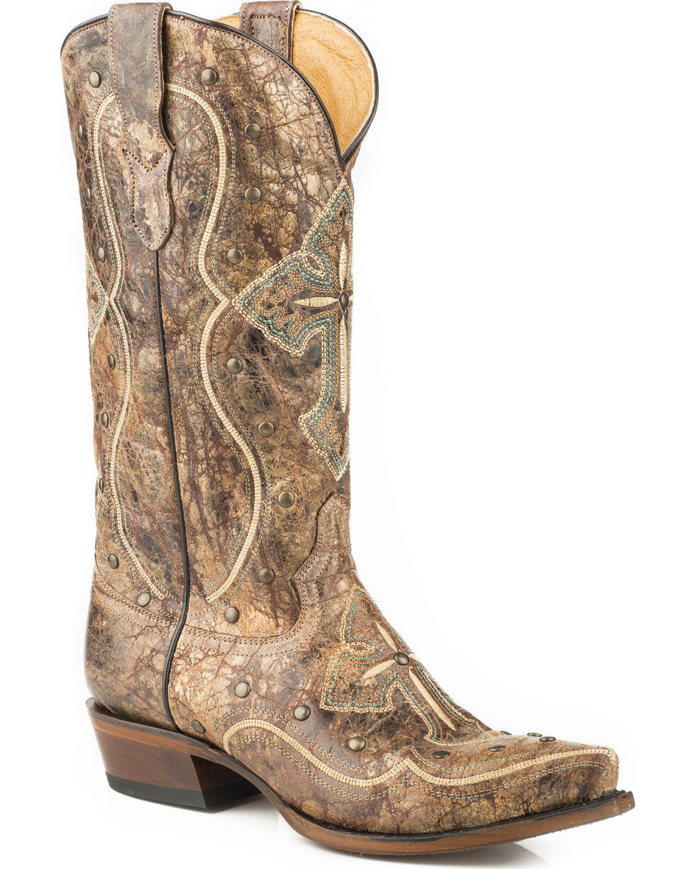 Roper Women's Pure Cross & Studs Cowgirl Boots - Snip Toe, Brown, hi-res