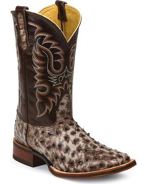 Nocona Men's Ostrich Kango Tobac Tumbled Western Boots - Square Toe, Brown, hi-res
