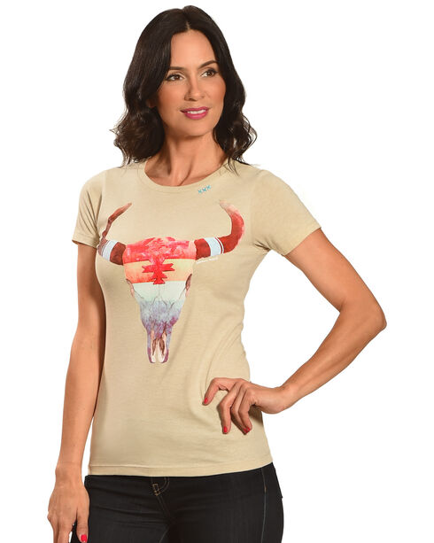 Bohemian Cowgirl Women's Short Sleeve Rainbow Skull Tee, Cream, hi-res