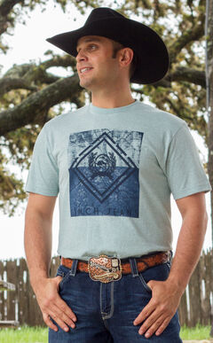Cinch Men's Light Blue Front Logo Short Sleeve Tee, Light Blue, hi-res