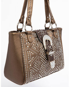 Shyanne Women's Metallic Bling Buckle Tote, Bronze, hi-res