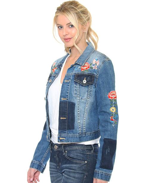 Grace in LA Women's Indigo Floral Embroidered Jean Jacket , Indigo, hi-res