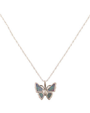 Silver Legends Opal Butterfly Necklace , Lavender, hi-res