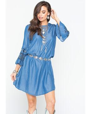 Given Kale Women's Indigo Embroidered Tencel Dress, Indigo, hi-res