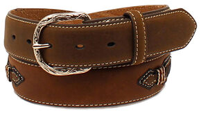 Cody James Men's Brown Whipstitched Leather Belt, Brown, hi-res