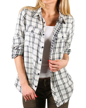 Miss Me Women's White Hidden Romance Plaid Shirt , White, hi-res