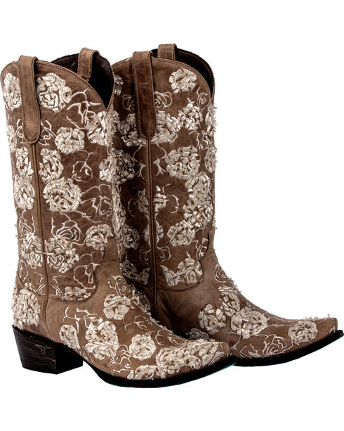 Lane Women's Wild Rose Embroidery Boots - Snip Toe , Tan, hi-res
