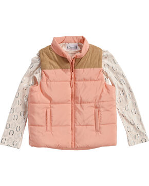 Shyanne Girls' Puffer Vest with Horseshoe Tee, Pink, hi-res
