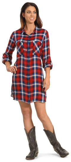 New Direction Women's Red and Blue Plaid Shirt Dress , Multi, hi-res