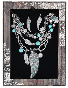 Shyanne Women's Turquoise Wings Jewelry Set, Silver, hi-res