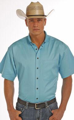 Panhandle Slim Men's Turquoise One Pocket Short Sleeve Shirt , , hi-res