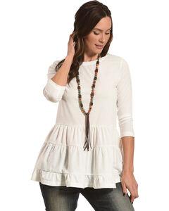 Polagram Women's White Ruffle Top , White, hi-res
