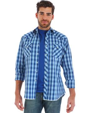Wrangler Men's Blue Ombre Plaid Long Sleeve Western Shirt , Black, hi-res