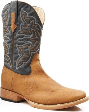 Roper Men's Faux Leather Cowboy Boots - Square Toe, Tan, hi-res