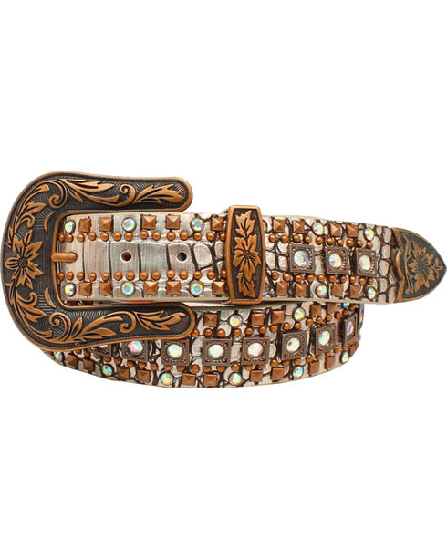 Nocona Women's Croc Copper Studded Silver Western Belt , Silver, hi-res