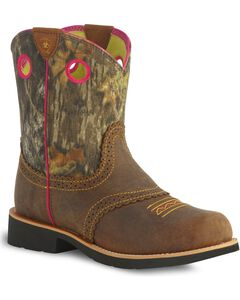 Ariat Fatbaby Youth Girls' Camo Cowgirl Boots, Brown, hi-res