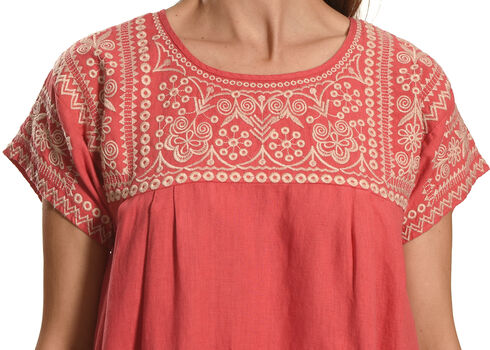 Johnny Was Women's Ellza Pleated Peasant Long Tunic , Coral, hi-res