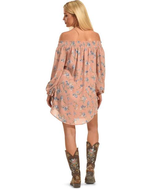 Polagram Women's Off-the-Shoulder Long Sleeve Floral Dress, Light/pastel Pink, hi-res